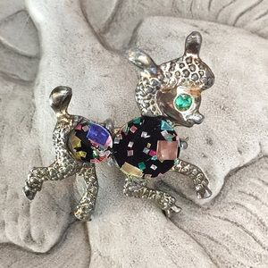 Vintage Confetti Leaping Lamb Scatter Pin